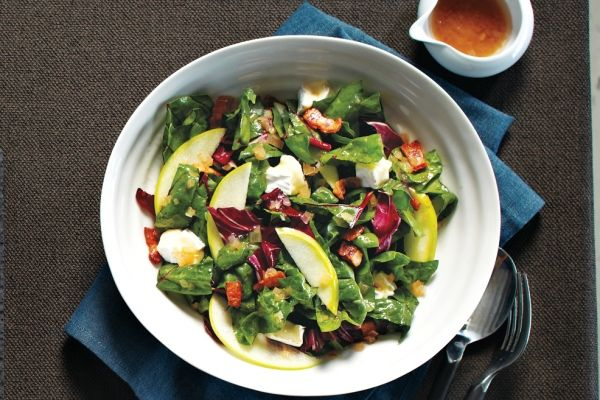 Chard and Apple Salad With Bacon Vinaigrette - Do you know what takes a salad from just OK to outstanding? Cheese and bacon. This salad is sweet and salty, with the perfect amount of tanginess. You'll love the recipe.