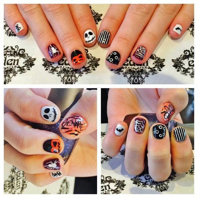 halloween nails, skull, spider, pumpkin, beetlejuice, bat, orange, black, shellac, nottd
