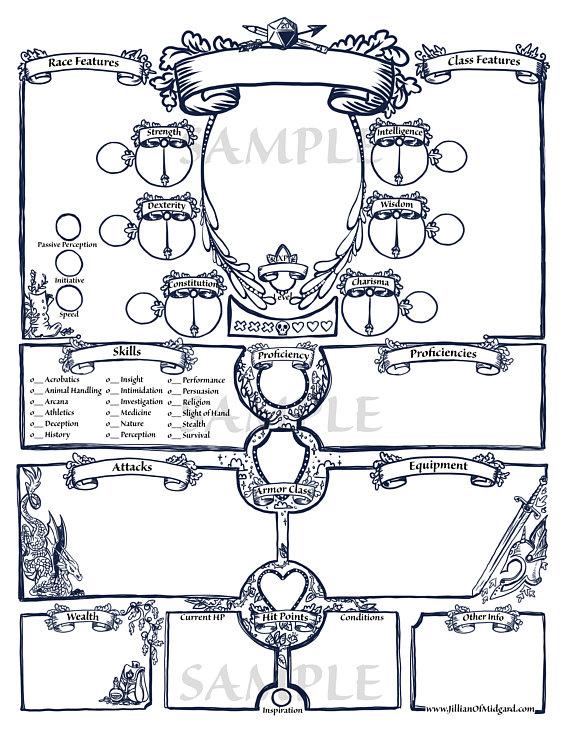 image regarding Printable Dungeon Tiles Pdf titled PDF printable Dungeons Dragons 5th ed Temperament Sheet
