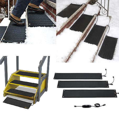 Heated Ice And Snow Melting Stair Treads | The Mats Plug Into Any Standard  120V Or