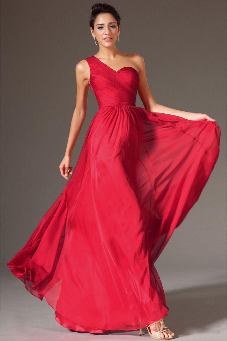 Bridesire - A-Linie 1-Schulter Bodenlang Spitzen Chiffon Kleid ...