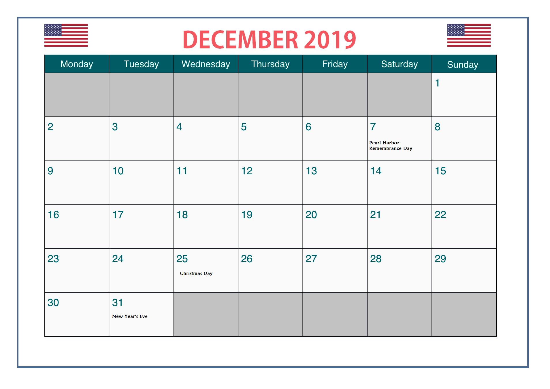 December 2019 USA Holidays Calendar Holiday calendar