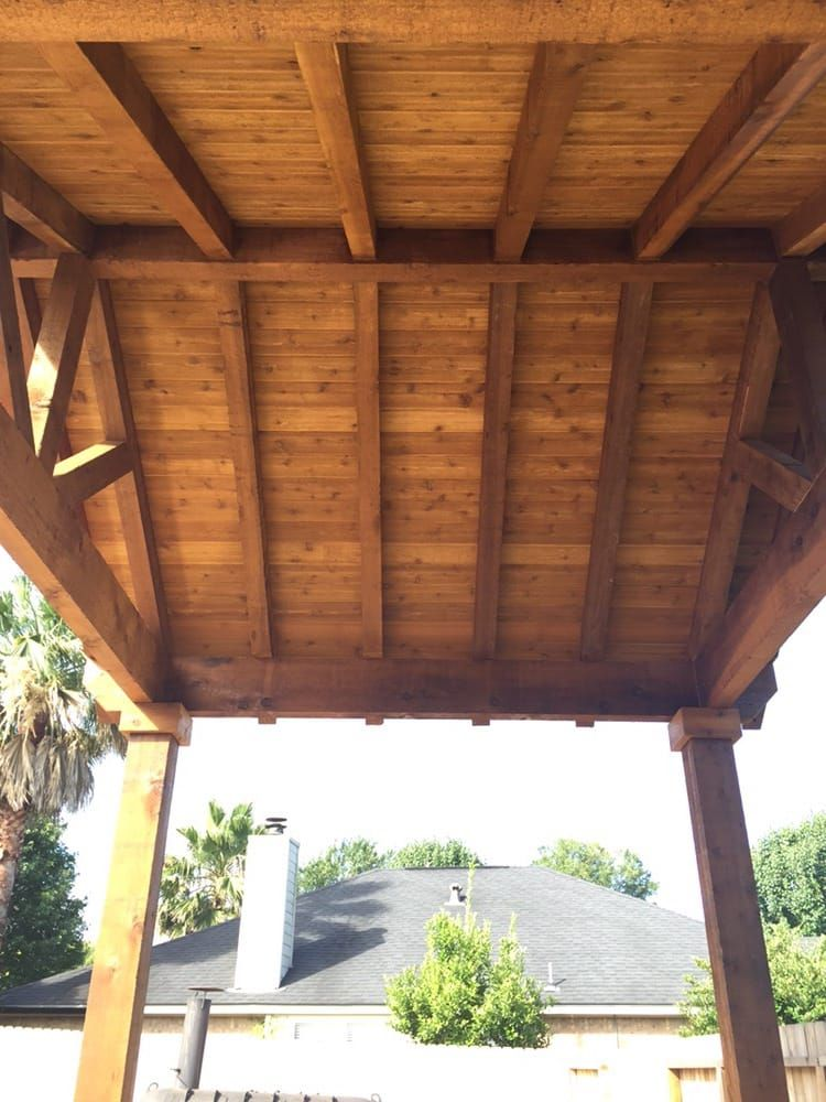 Gable Roof With All Exposed Cedar Yelp Patio Remodel Backyard