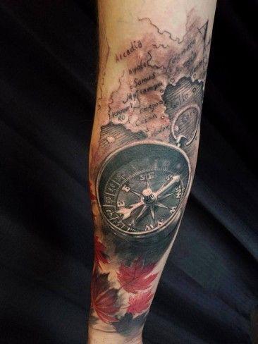 Tatuaż Kompasu Z Mapą Tattoo Tatuaż Compass Tattoo I