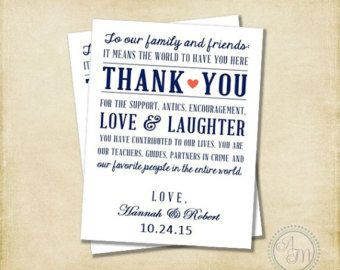 Wedding Thank You Note Welcome Bag Favor Hotel Gift Navy