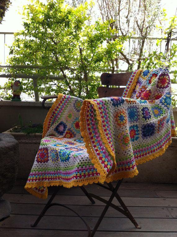 ganchillo Plaza abuela manta colorido por CrochetObjet en Etsy | diy ...