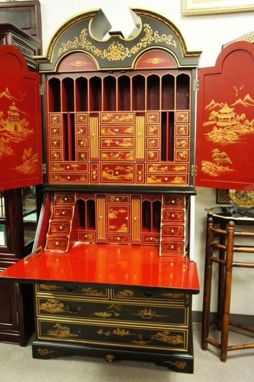 Astounding Chinoiserie Red Black Lacquer Bureau Flip Desk Cabinet Id Download Free Architecture Designs Rallybritishbridgeorg