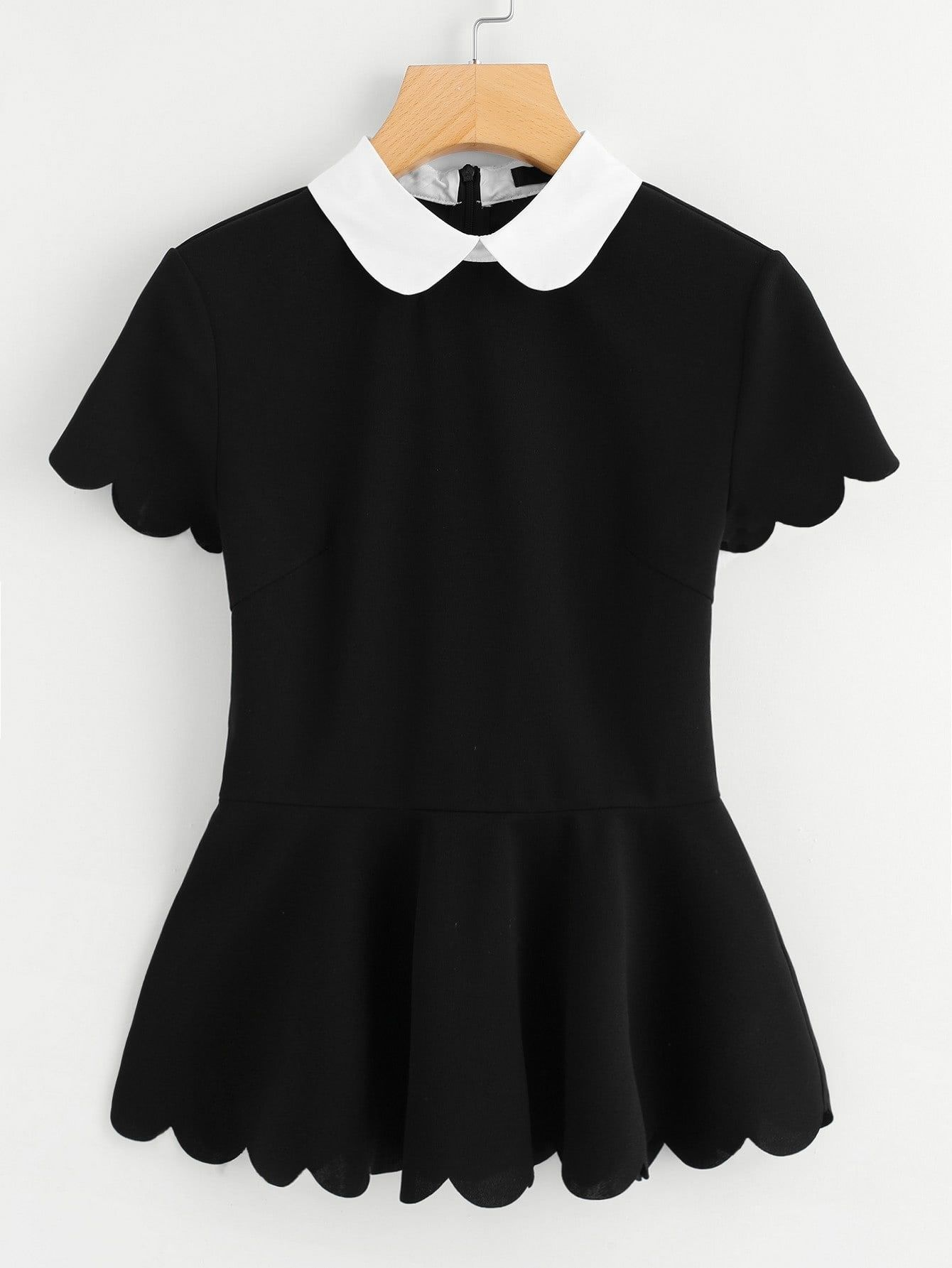 97ed4509576c Elegant Peplum Slim Fit Collar Short Sleeve Black Contrast Peter Pan Collar  Scallop Peplum Top
