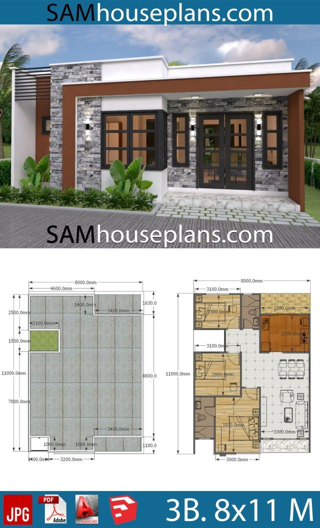 House Plans 8x11 With 3 Bedrooms Full Plans Sam House Plans Simple House Plans Affordable House Plans Small House Design Plans