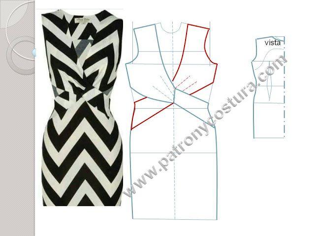 Patrón y costura : vestido cruzado delante con cintura descubierta ...
