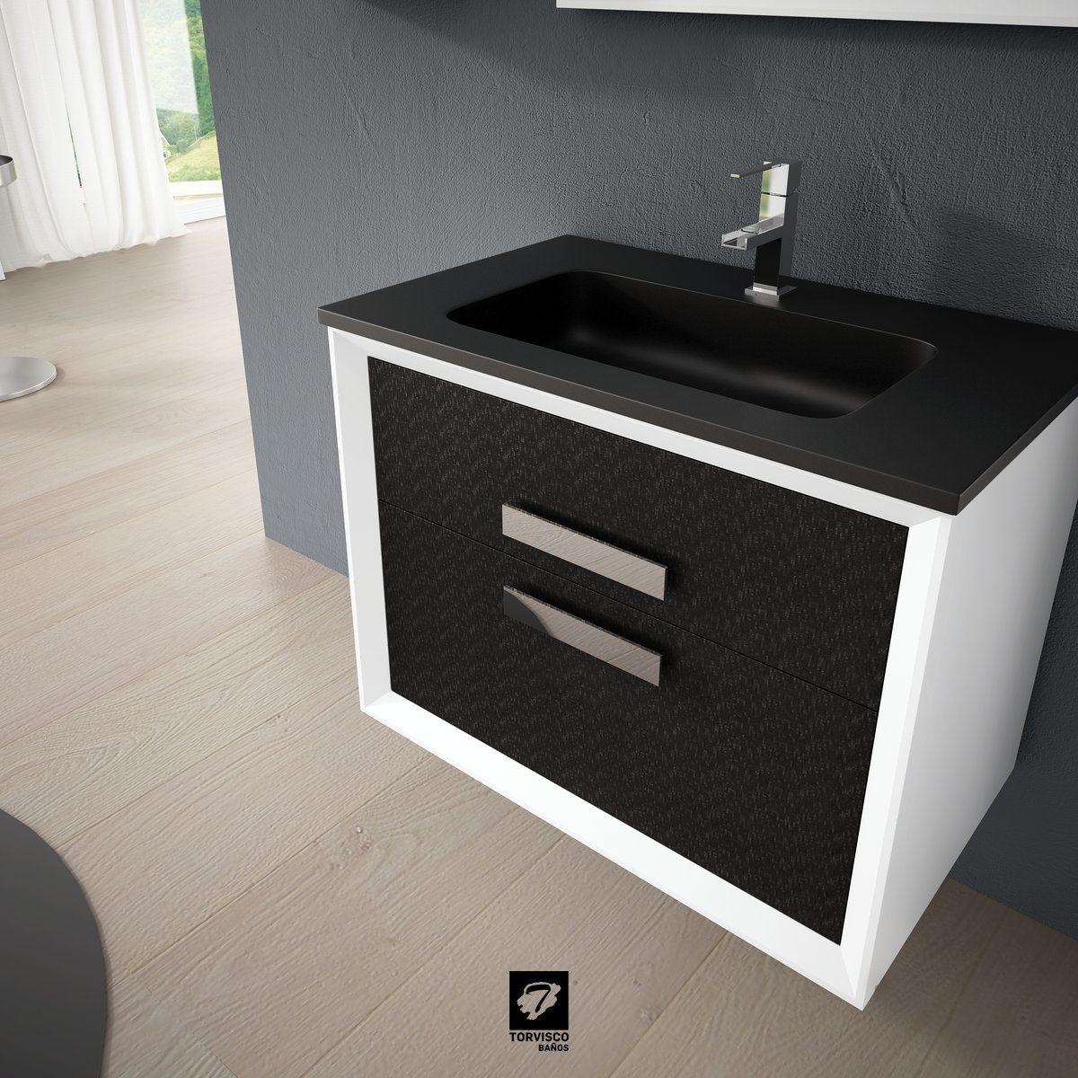 Detalle De La Encimera Dubai En Negro Metalizado Sobre El Mueble  # Muebles Bano Loa