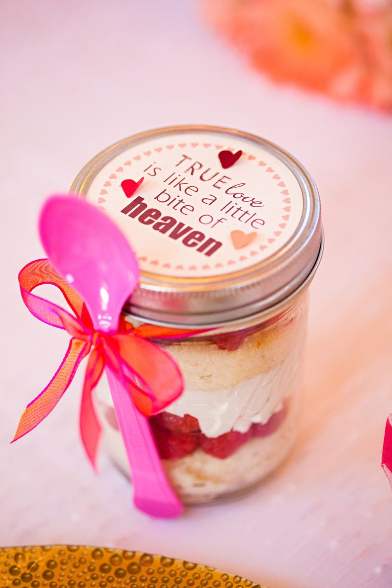 Favors Pink cake in a jar cupcake in a jar food favor mason jar I\'ve ...