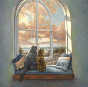 Window Painting - Enjoying The View by Lucie Bilodeau