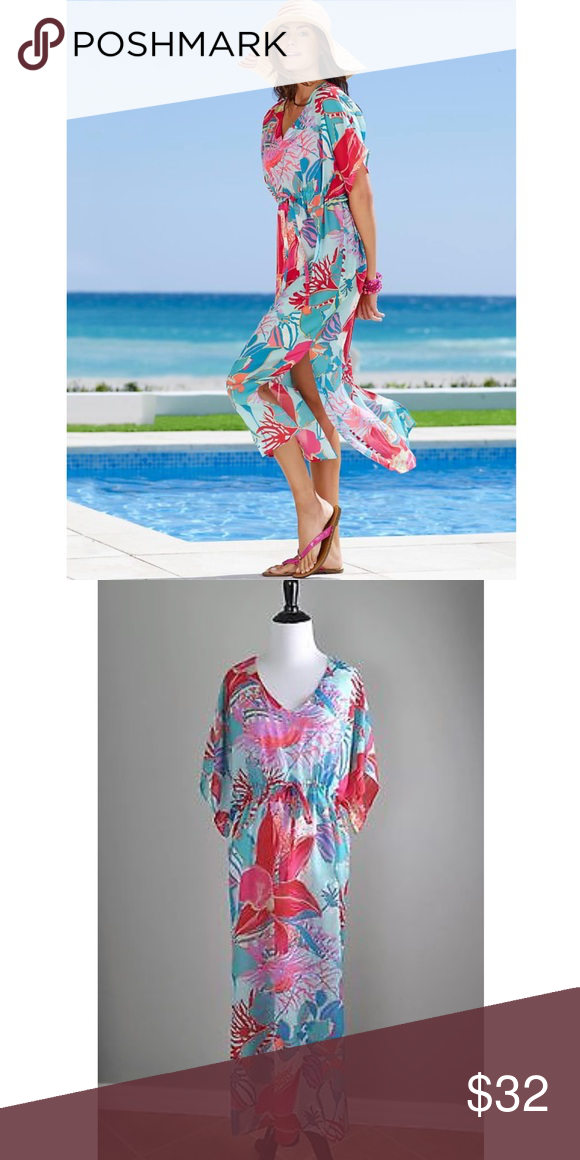 625e19336f32d Talbots tropical floral beach cover-up caftan Additional information coming  shortly Talbots Swim Coverups