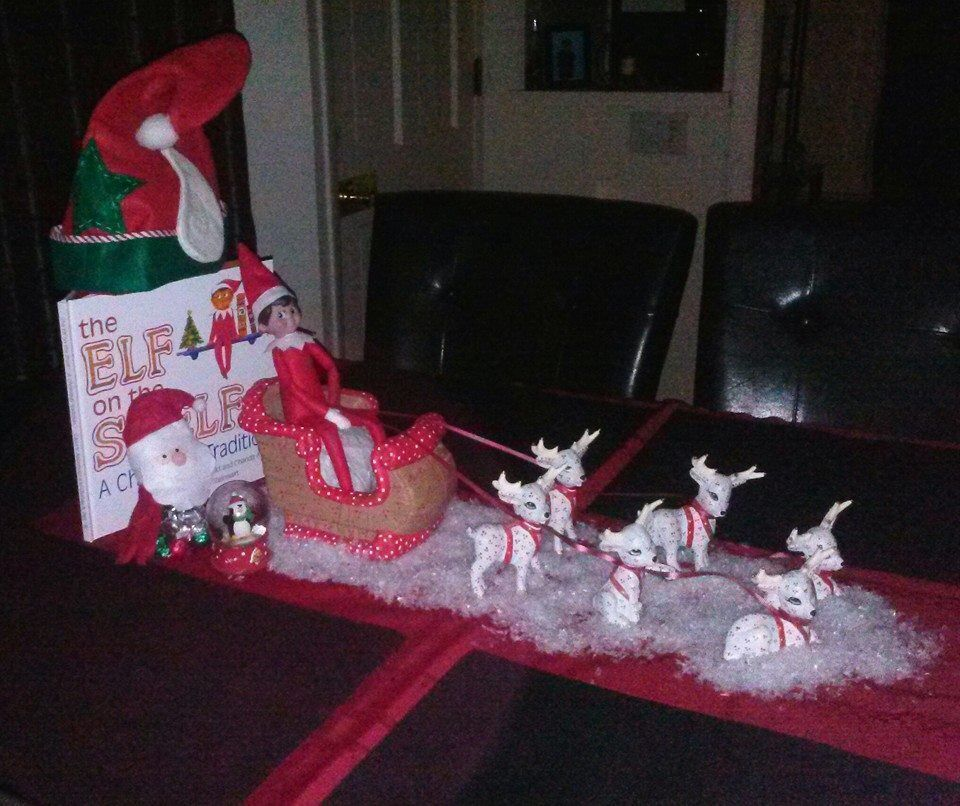 My daughters 1st day idea of their elf lil Red for my grandson Randy II her son to experience <3 2013