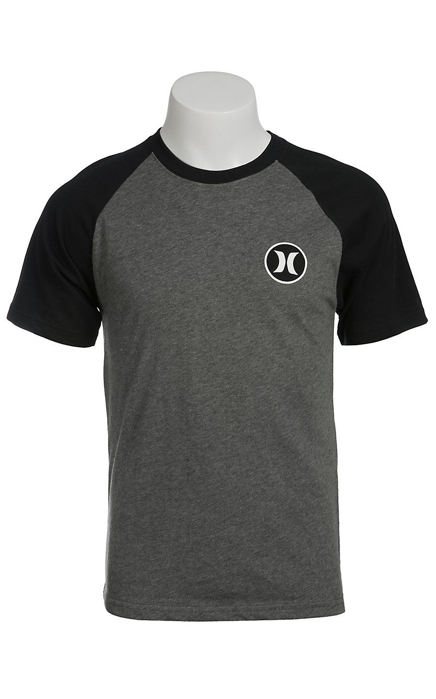 Black hurley t shirt - Hurley Men S Heather Graphite Grey With Black Raglan Short Sleeves Dri Fit Logo Tee