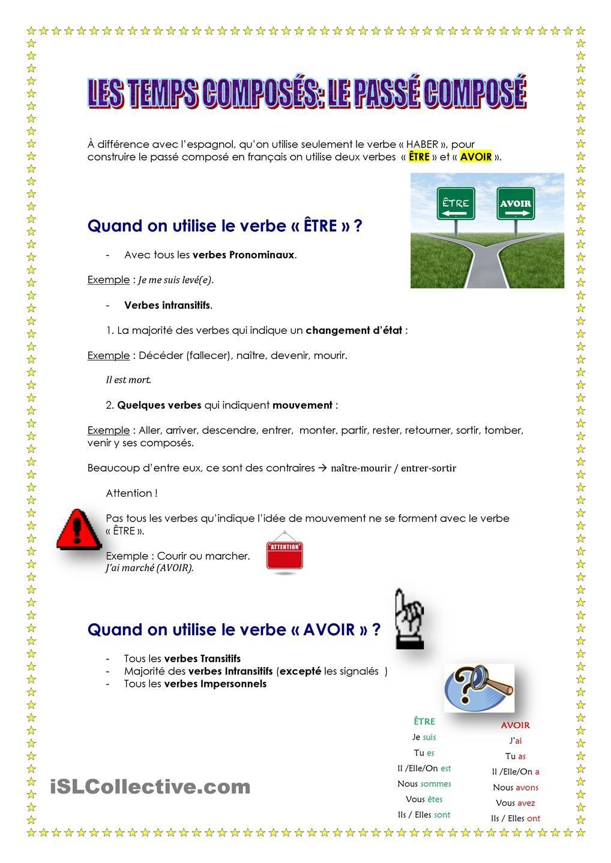 Le Passe Compose Passe Compose Verbe Intransitif Apprendre Le Francais