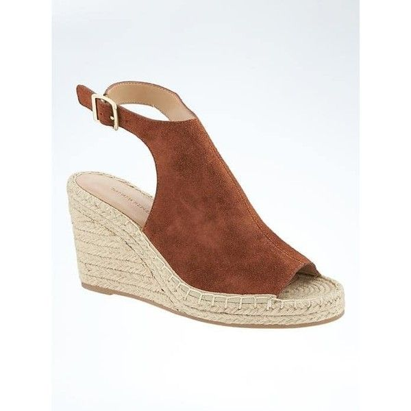 10bea09f8b9 Banana Republic Womens Peep Toe Wedge Espadrille ( 97) ❤ liked on Polyvore  featuring shoes