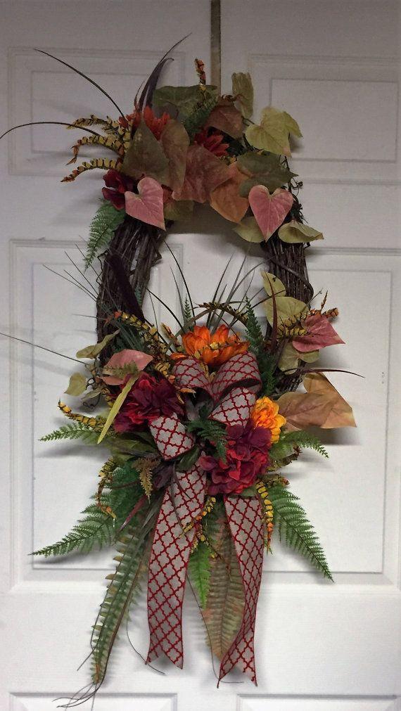 oval fall grapevine wreath 36 x 20 thanksgiving wreath