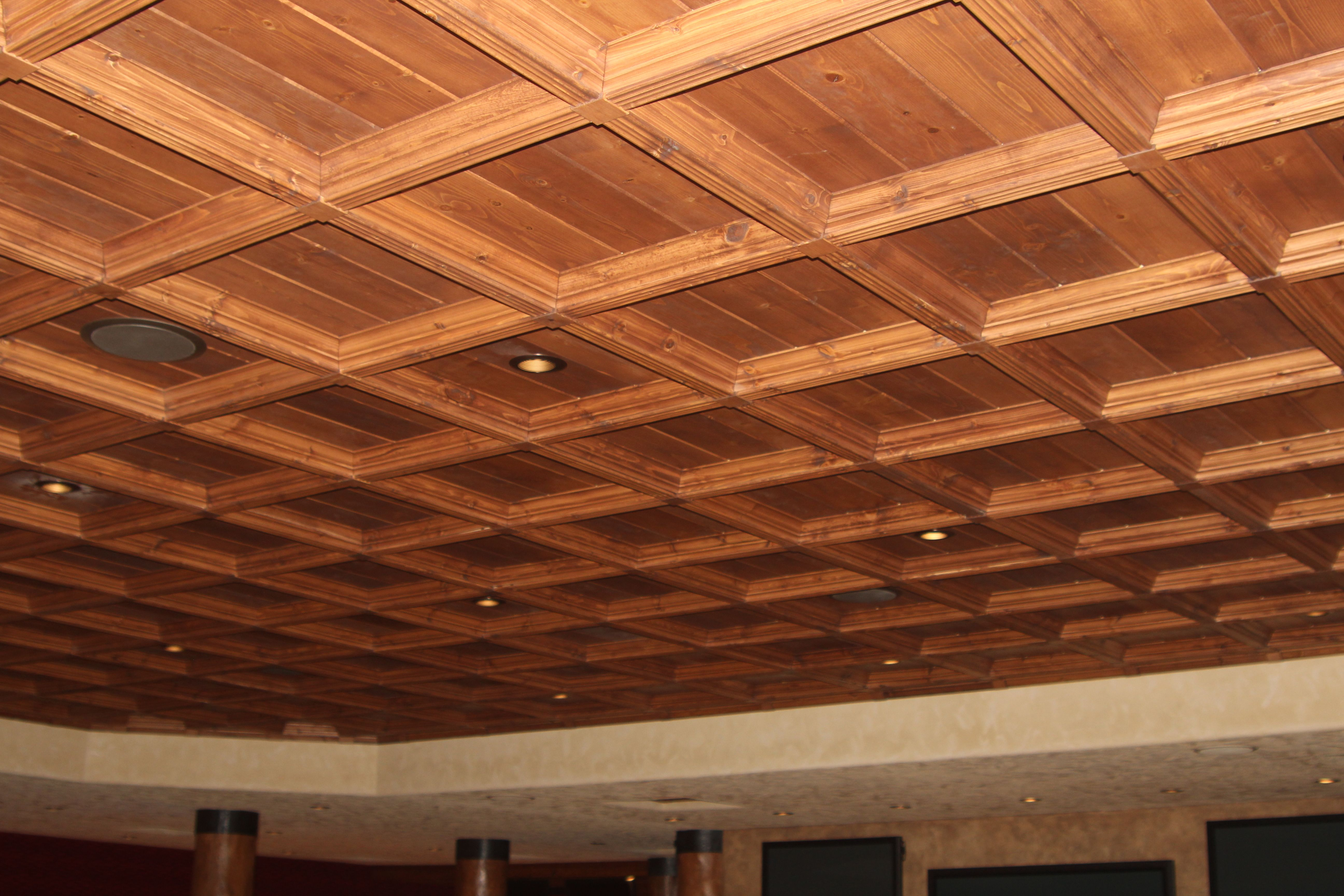 Classic Coffers Suspended Wood Ceiling Plank Ceiling Ceiling