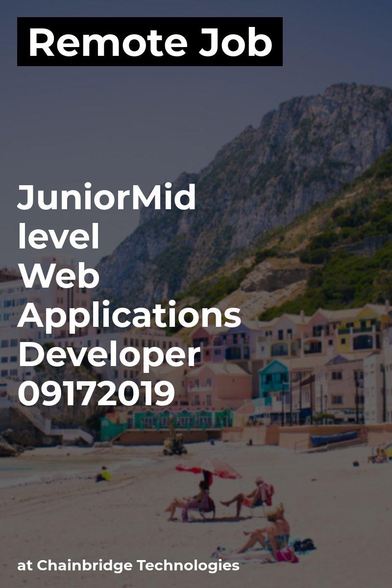 Remote Junior/Mid level Web Applications Developer- 09172019 at Chainbridge Technologies #javascript #sqlserver #visualstudio #asp.netmvc #remotework #developer #digitalnomad