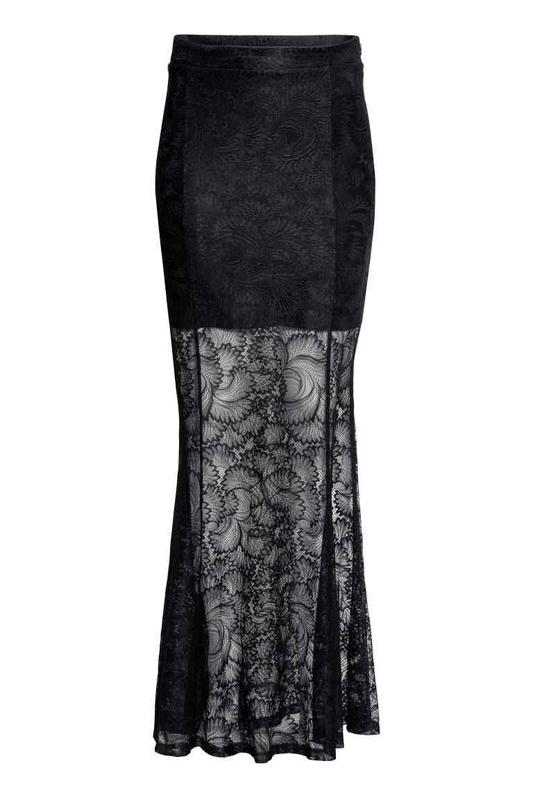 sale retailer 61f71 26b80 Langer Spitzenrock | H&M | vintage mode | Langer schwarzer ...