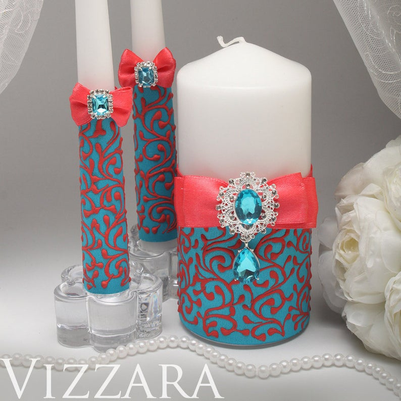 Unity candles set Coral and turquoise wedding Cheap unity candles Turquoise and coral wedding Unity candles set Coral and turquoise wedding Cheap unity candles Turquoise...