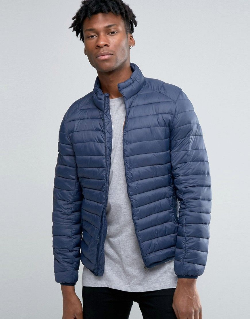 pull bear quilted jacket in navy jk jackets quilted. Black Bedroom Furniture Sets. Home Design Ideas