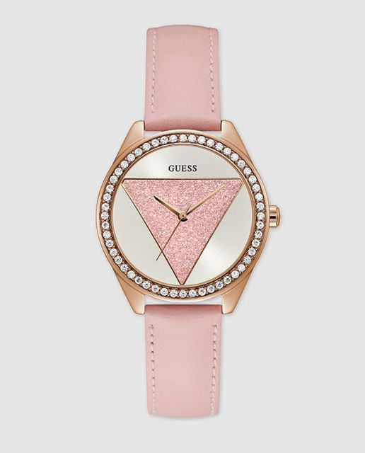 Reloj de mujer Guess Ladies Tri Glitz W0884L6 de piel rosa