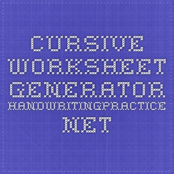 Cursive Worksheet Generator Handwritingpractice English