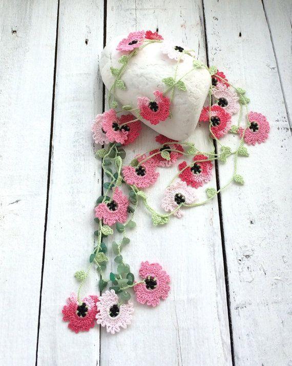 Oya Beaded Necklace, Spring Crocheted Necklace, Boho Pink Lariat ...