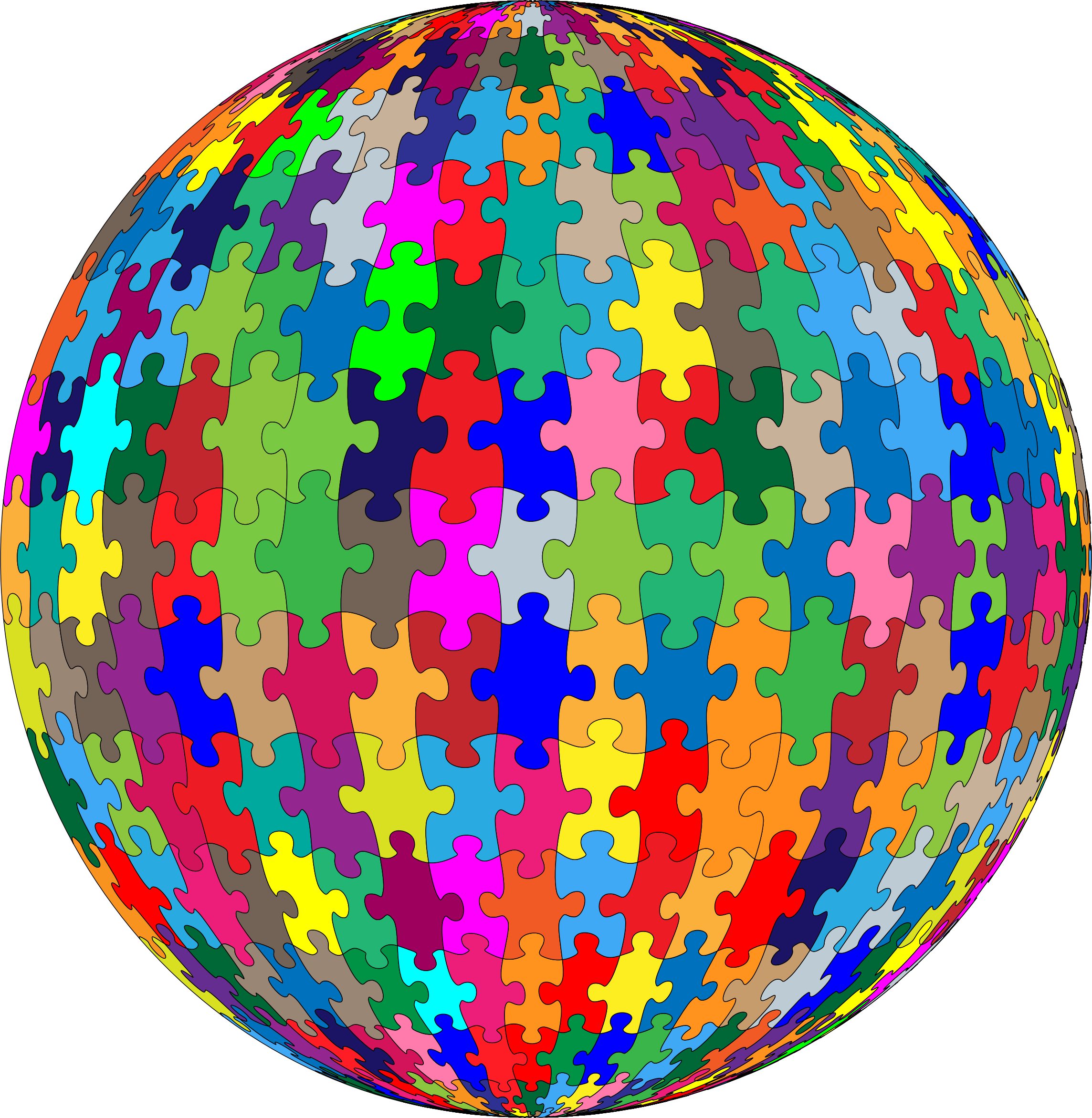 Multicolored Jigsaw Puzzle Pieces Sphere Jigsaw Puzzles Puzzle Pieces Sphere