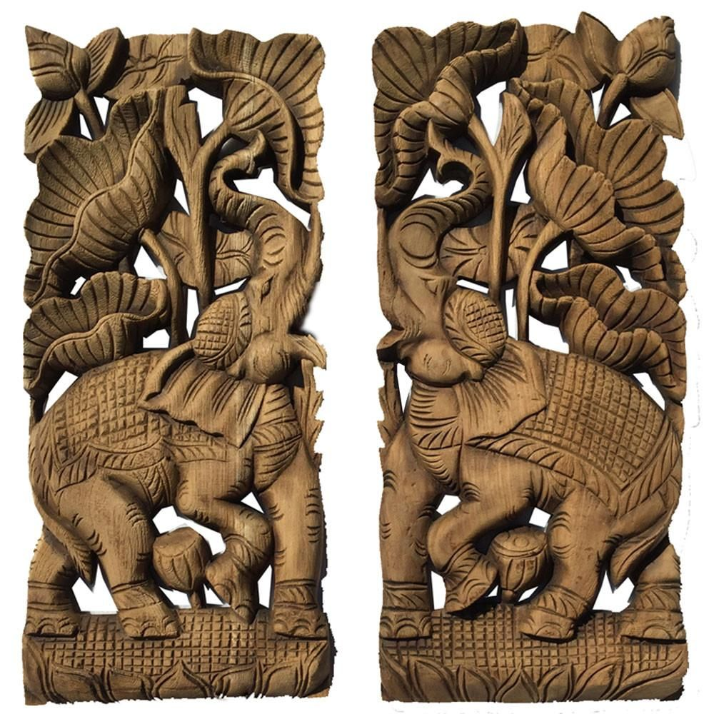 Tropical home decor carved wood wall art oriental decor elephant