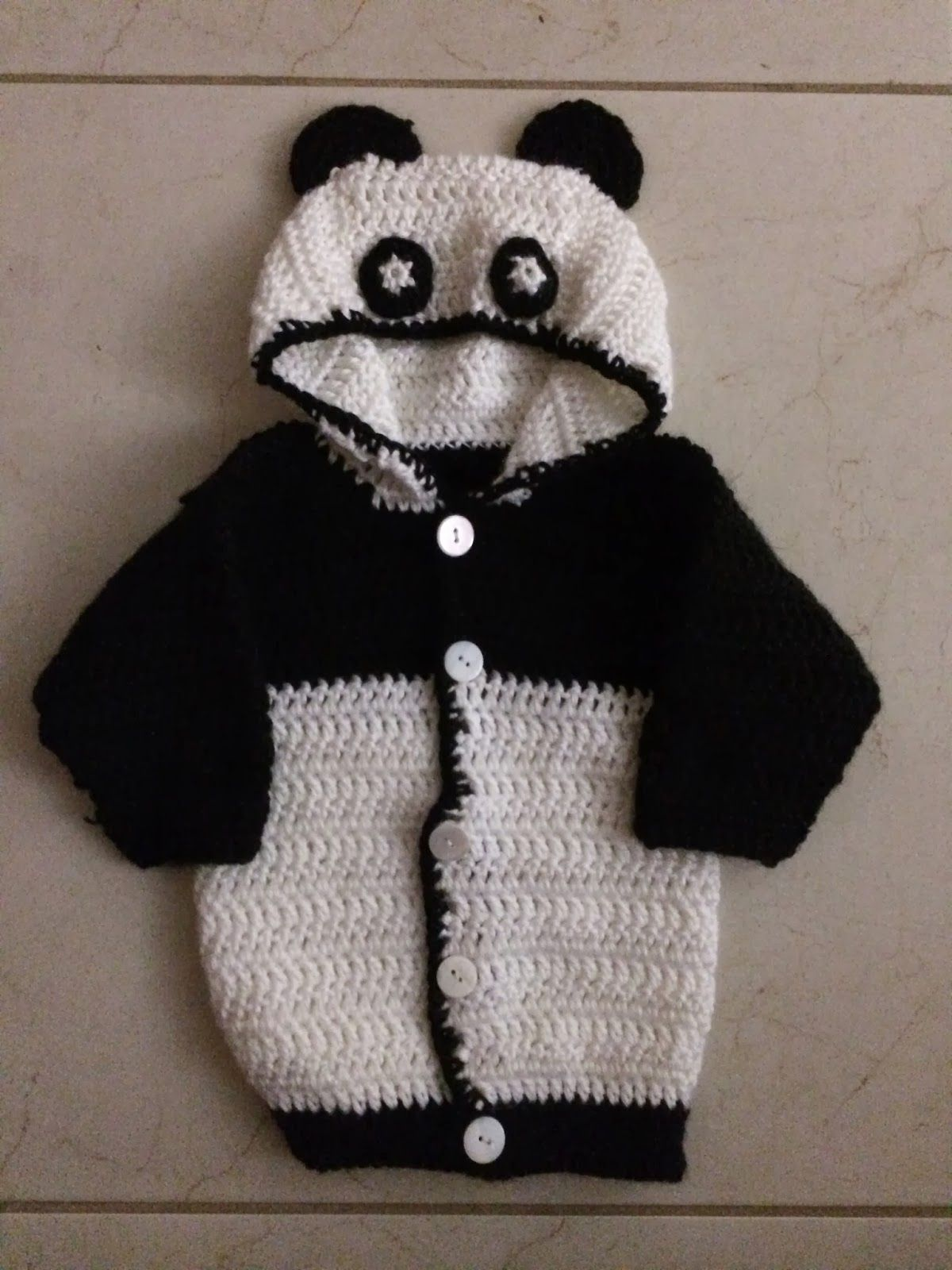 b08115480 Not My Nana s Crochet!  Hooded Baby Panda Sweater - Free Pattern ...