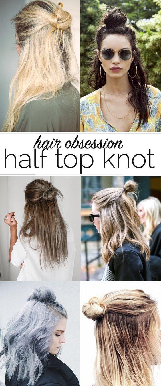Half Top Knot Ideas Hair Styles Long Hair Styles Messy Hairstyles