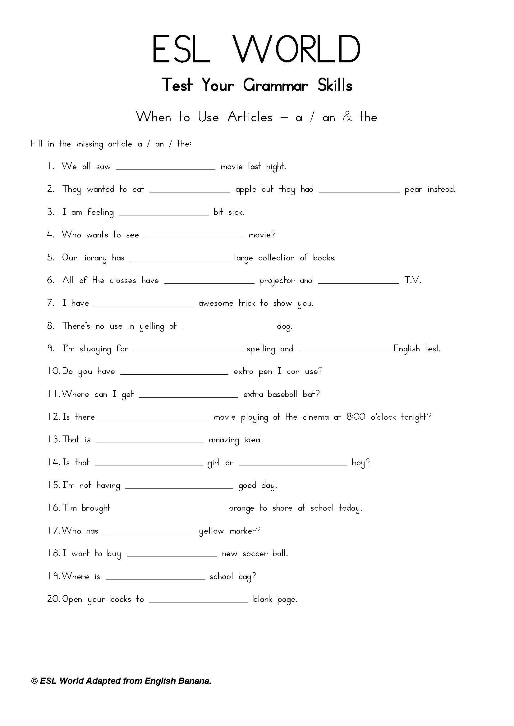 Articles A An The What Are Esl Printables This File Includes A Simple Guide In 2021 Grammar Skills Reading Comprehension Worksheets English Worksheets For Kindergarten [ 2339 x 1654 Pixel ]