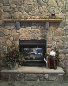 Bucks county field stone fireplace surround w raised for Field stone fireplace