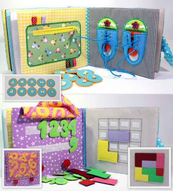 quiet active book made of cloth is recommended for children from 1 year old it