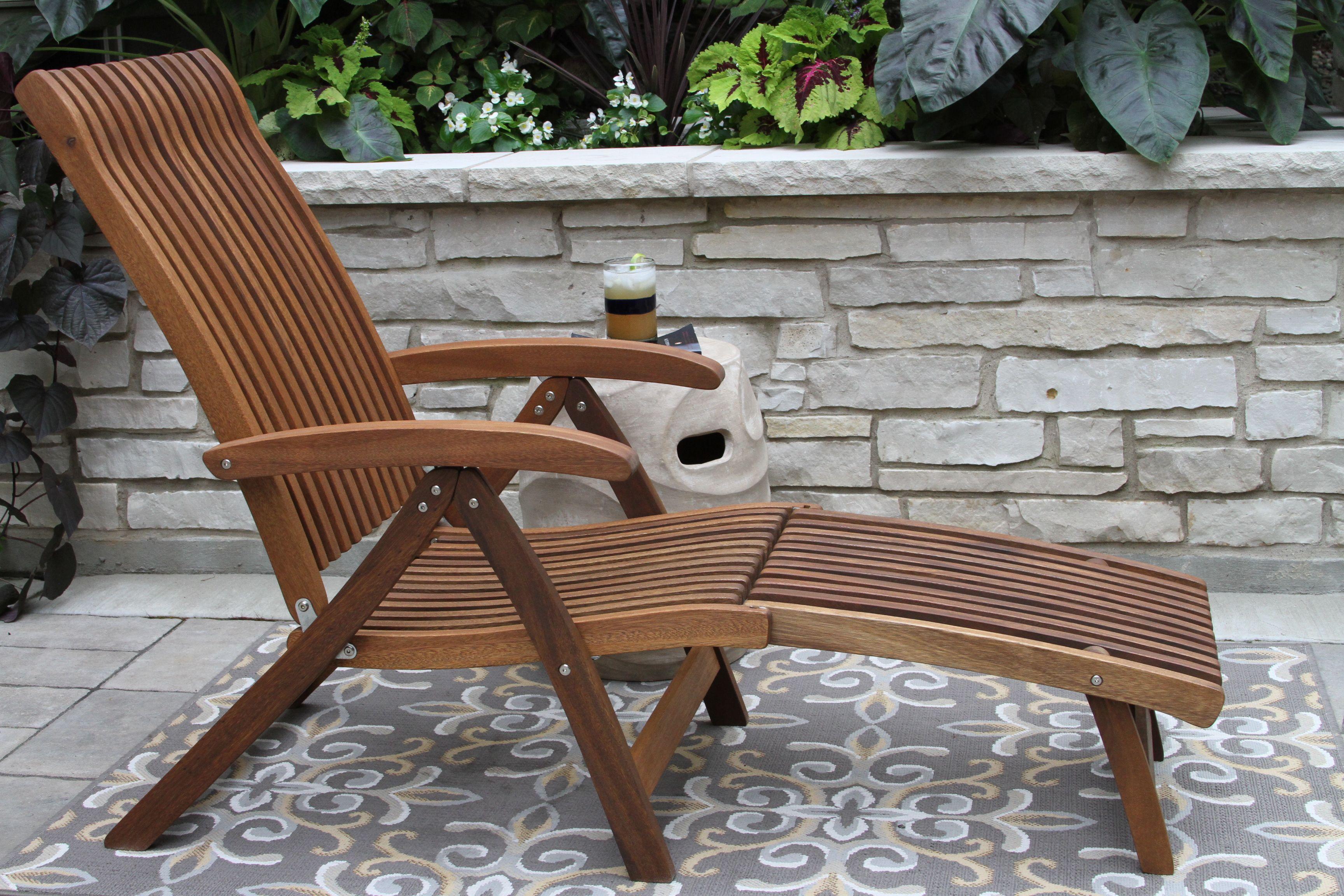 Venetian Eucalyptus Wood 5 Position Lounger With Detachable Ottoman