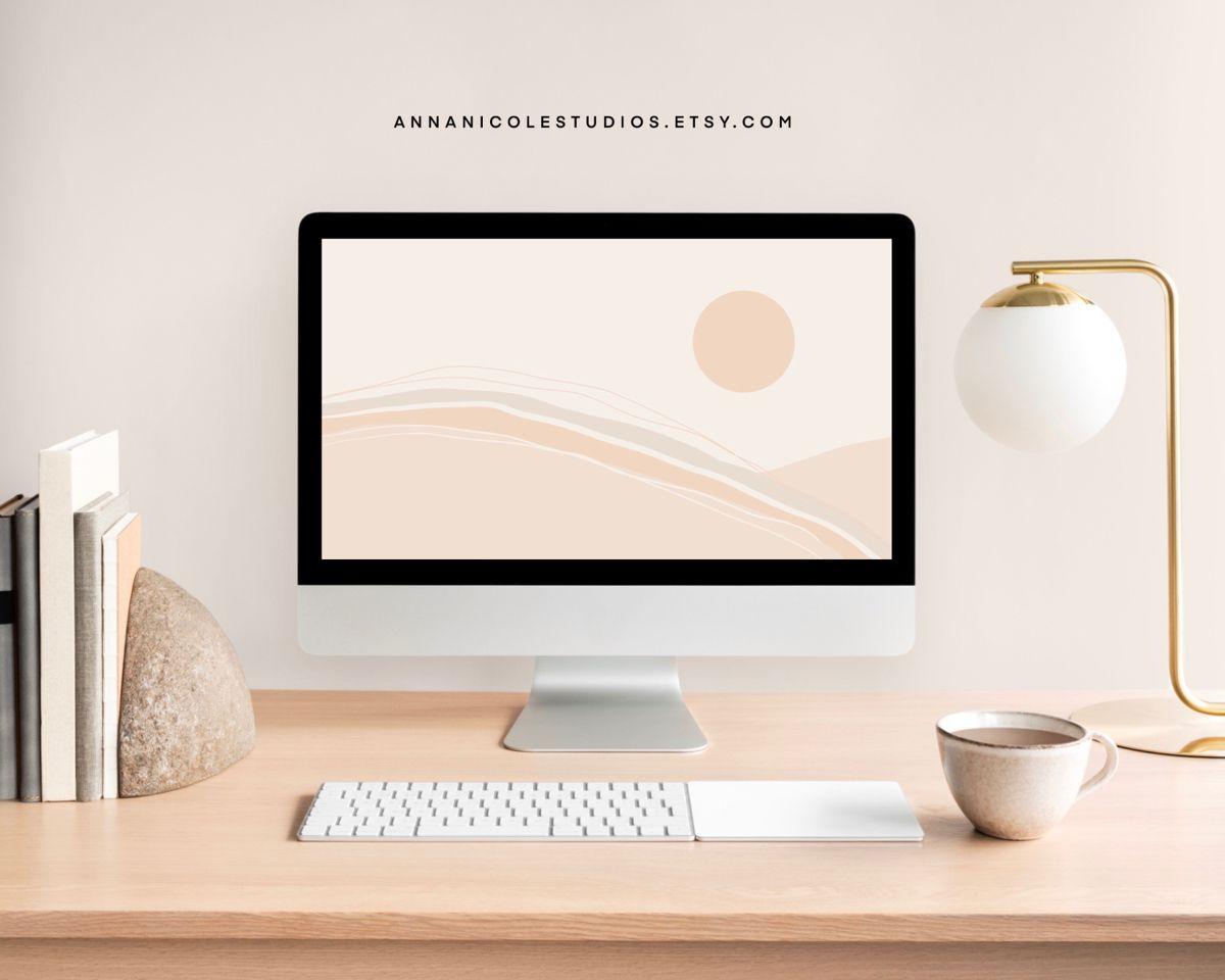 Warm Neutral Minimalistic Boho Abstract Desktop Wallpaper Desktop Themes Shop Wallpaper Minimalist Wallpaper