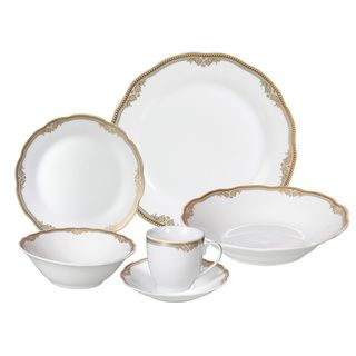 Lorren Home Trends 'Catherine' 24-piece Porcelain Dinnerware Set - Overstock™ Shopping - Great Deals on Lorren Home Trend Formal Dinnerware