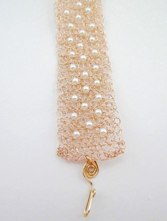 Rose gold crochet wire cuff bracelet. Pearl cuff by ByDrora ...