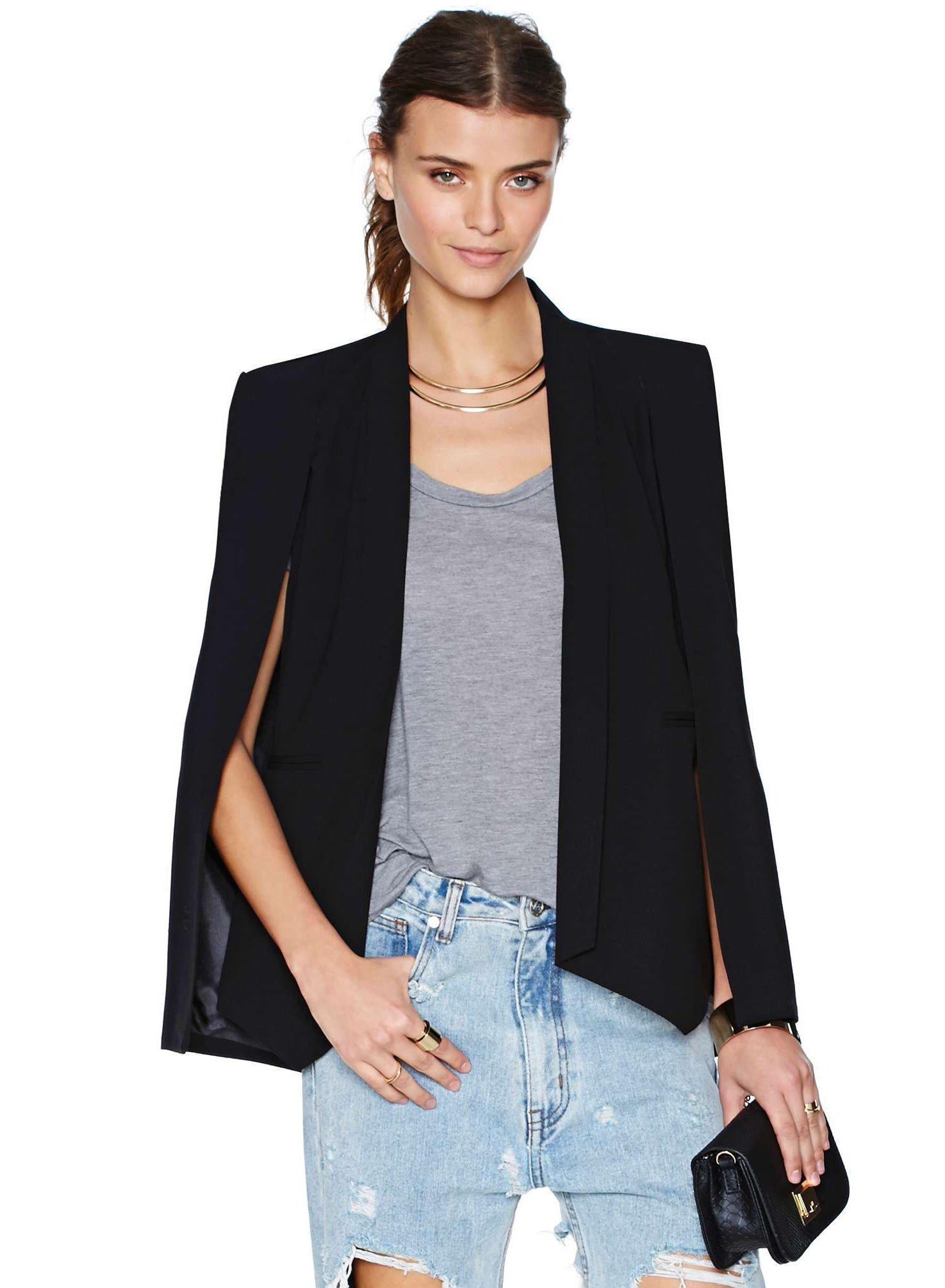 Blazers Suits & Sets Women Long Suit Blazer Office Lady Coat Solid Long Sleeves Cape Poncho Female Elegant Jacket Womens Formal Suit Blazer Feminino