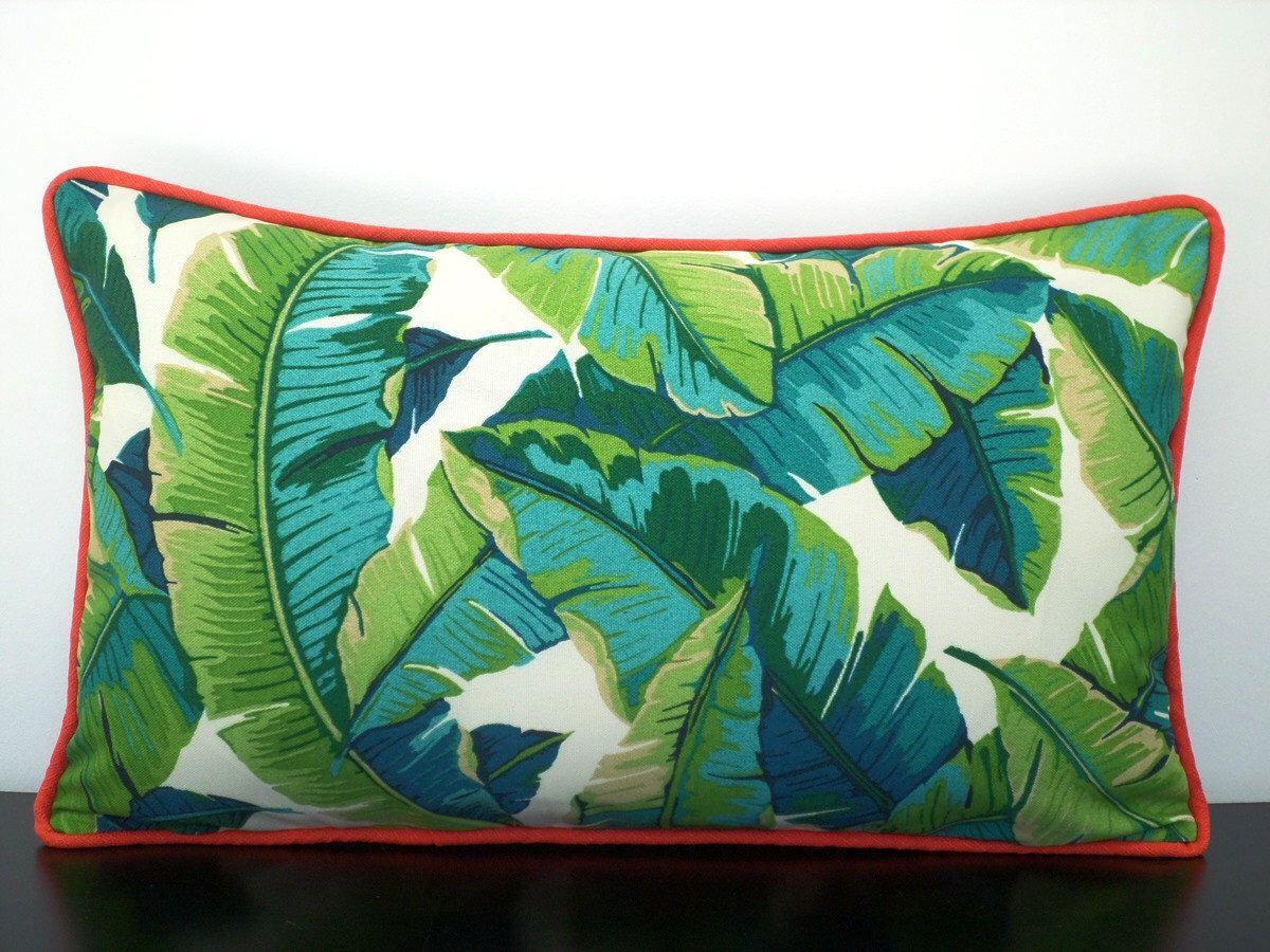 Teal And Green Outdoor Pillow Cover 20x12, Palm Leaf Pillow Piping,  Tropical Outdoor Cushion