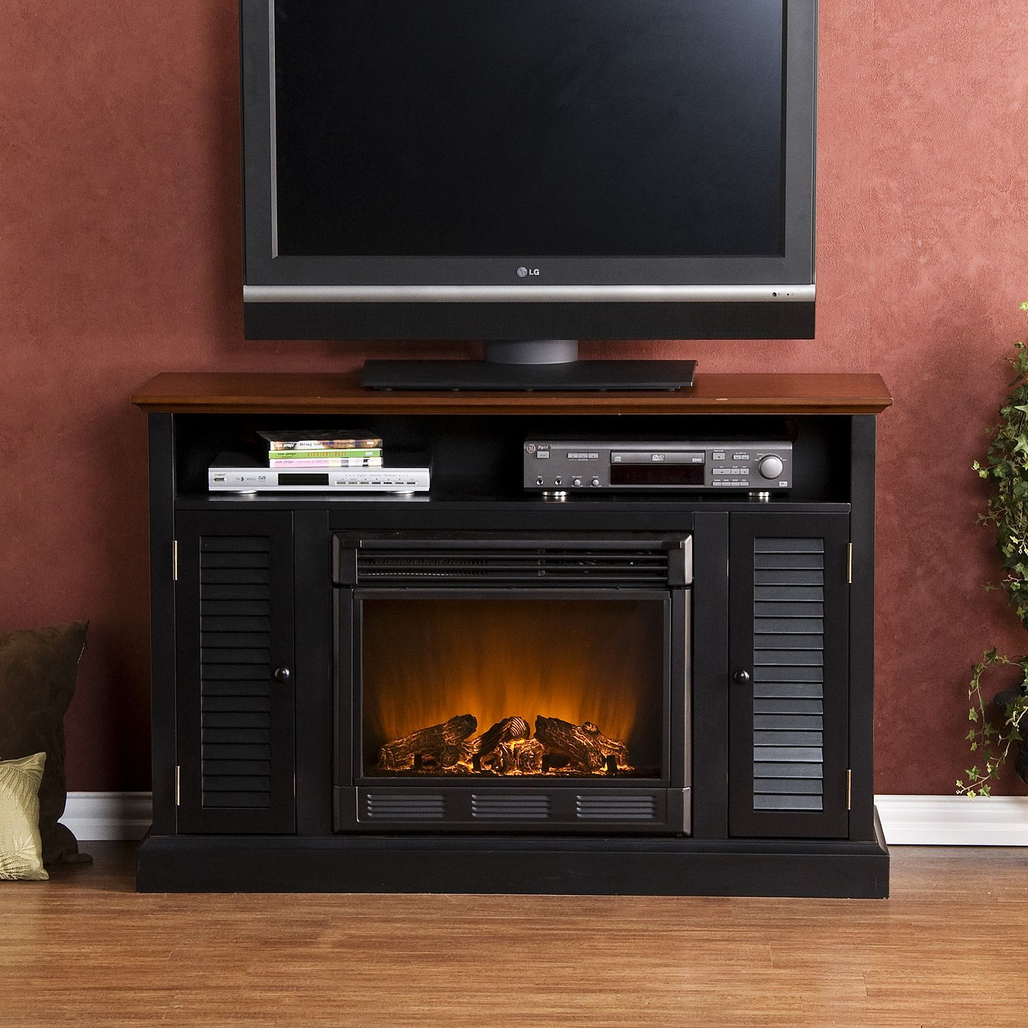 Classic flame belmont 60 quot tv stand with electric fireplace - Chatsworth Electric Fireplace Media Console Two Tone