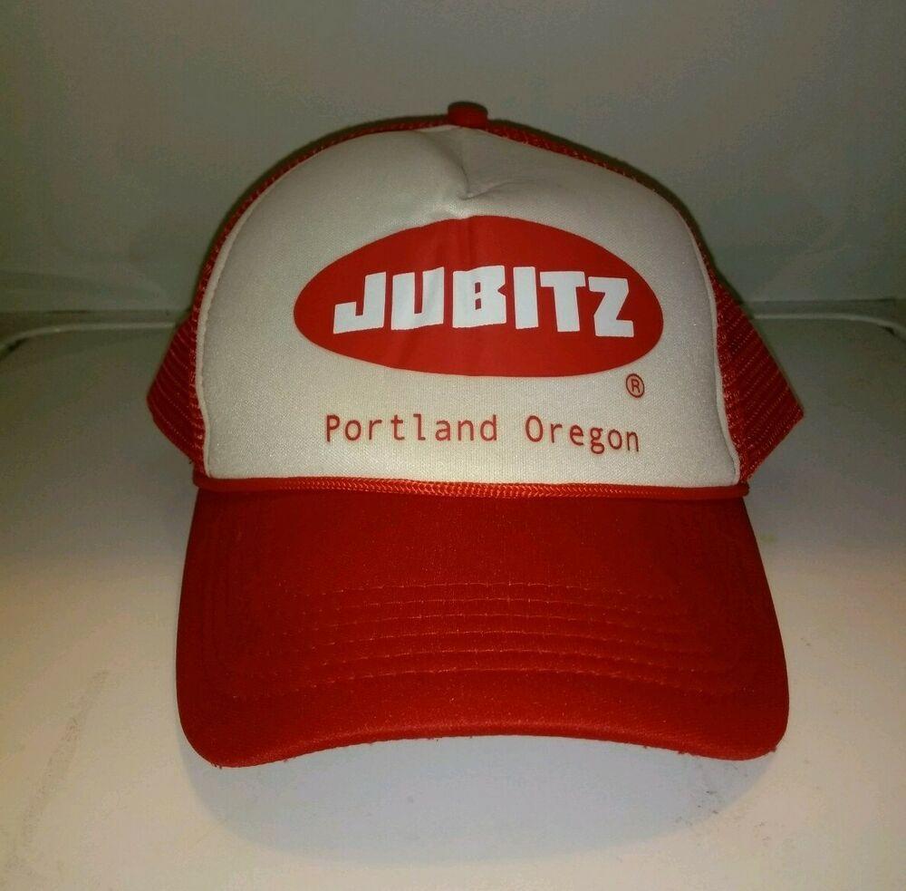 4193764e65d6b0 Vintage Style Jubitz Truck Stop Hipster Trucker Hat Snapback Red Portland OR