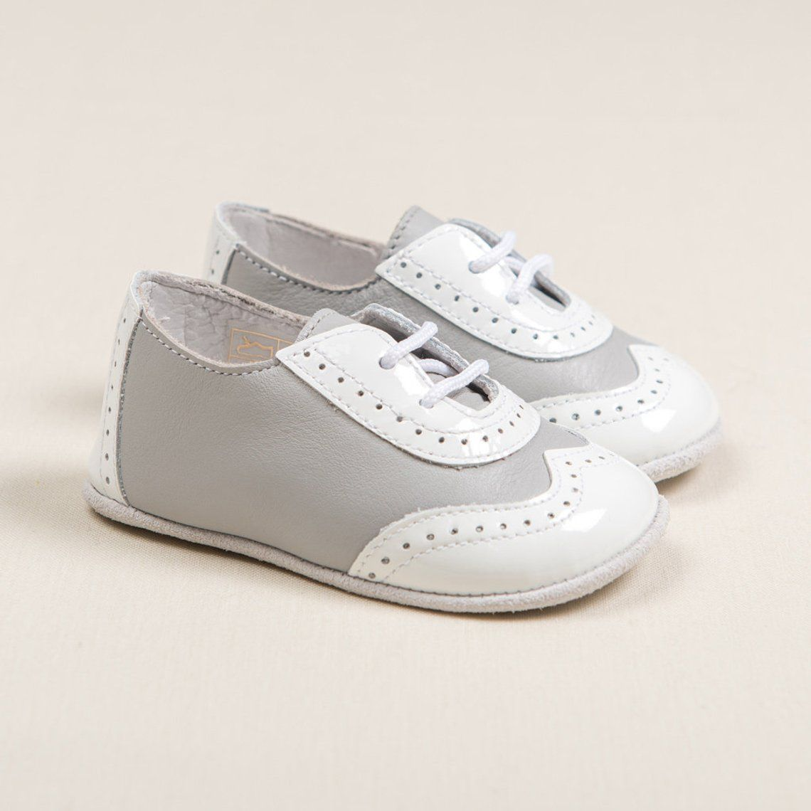 SAMPLE SALE - Baby Boys Leather Wingtip Shoes - Grey ...