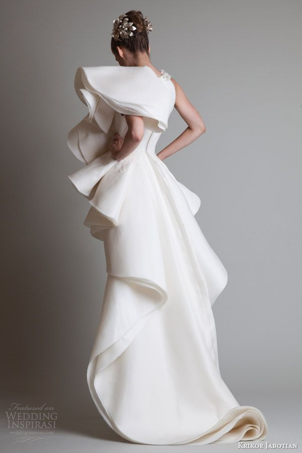 Krikor Jabotian Couture wedding 2014 | krikor jabotian couture dresses 2014 short dress over skirt back view ...