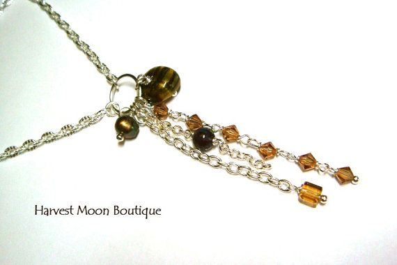 Cascading Pendant Silver Necklace Brown Beaded by AngiePinkal