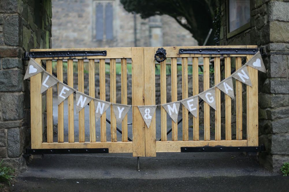 Hessian Personalised Wedding Name Banner Bunting
